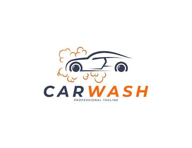 Diseño de logotipo de lavado de autos simple con ilustración de espuma de burbujas