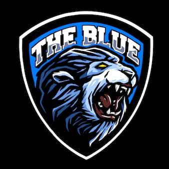El diseño del logotipo del león azul