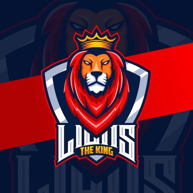 Diseño de logotipo de león el rey mascota esport