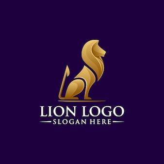 Diseño de logotipo de león con vector