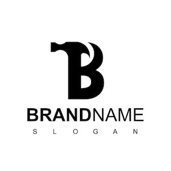 Diseño de logotipo letra b martillo para construcción, fabricación y reparación