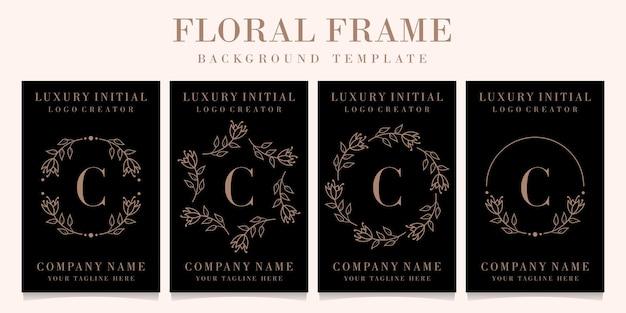 Diseño de logotipo de letra c de lujo con plantilla de fondo de marco floral