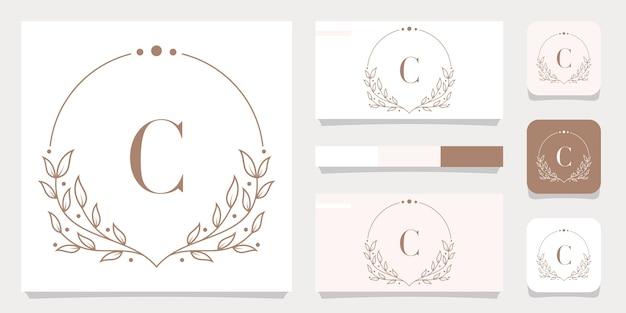 Diseño de logotipo de letra c de lujo con plantilla de marco floral, diseño de tarjeta de visita