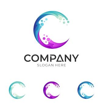 Diseño de logotipo de la letra c de onda