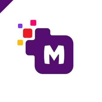 Diseño de logotipo de letra cuadrado corporativo m de empresa