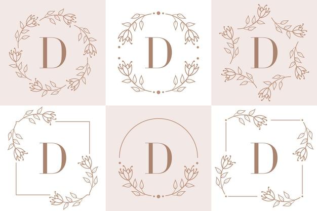 Diseño de logotipo letra d con elemento de hoja de orquídea
