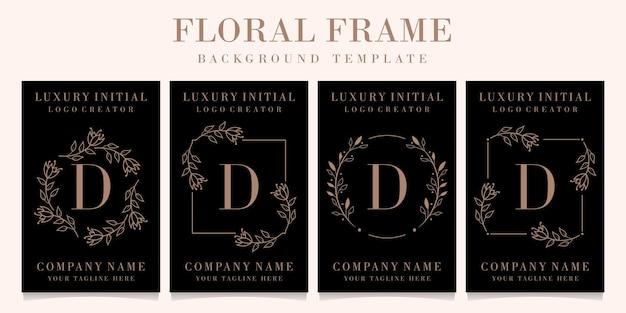 Diseño de logotipo de letra d de lujo con plantilla de fondo de marco floral
