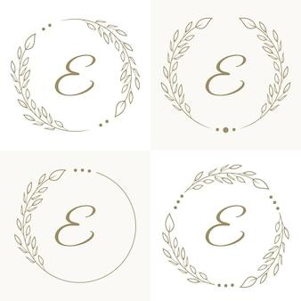 Diseño de logotipo de letra e de lujo con plantilla de fondo de marco floral