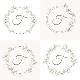 Diseño de logotipo de letra f de lujo con plantilla de fondo de marco floral