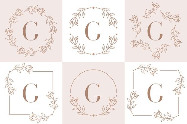Diseño de logotipo letra g con elemento de hoja de orquídea