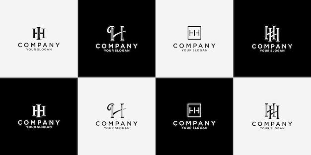 Diseño de logotipo letra hh en paquete