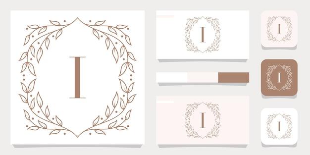 Diseño de logotipo de letra i de lujo con plantilla de marco floral, diseño de tarjeta de visita