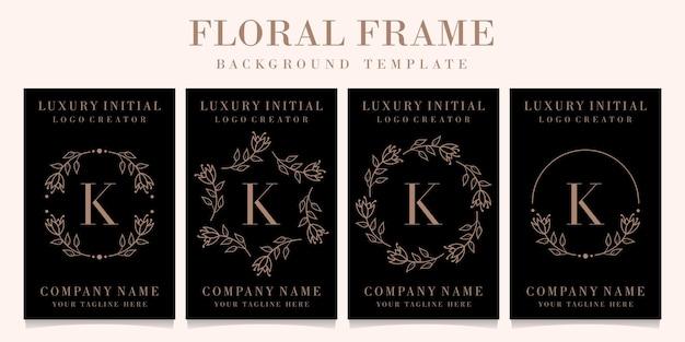 Diseño de logotipo de letra k de lujo con plantilla de fondo de marco floral