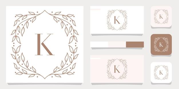 Diseño de logotipo de letra k de lujo con plantilla de marco floral, diseño de tarjeta de visita