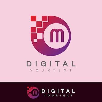 Diseño de logotipo letra m inicial digital