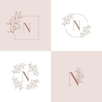 Diseño de logotipo letra n con elemento de hoja de orquídea