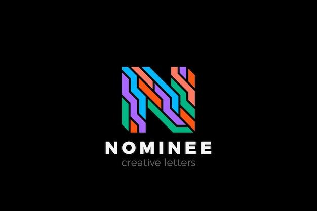 Diseño de logotipo letra n en estilo colorido