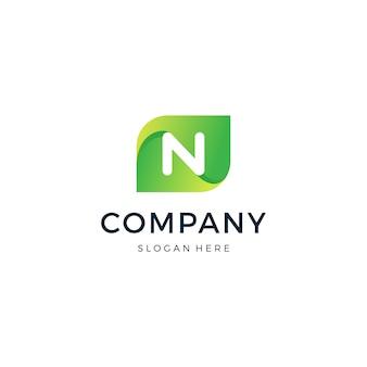 Diseño de logotipo letra n leaf