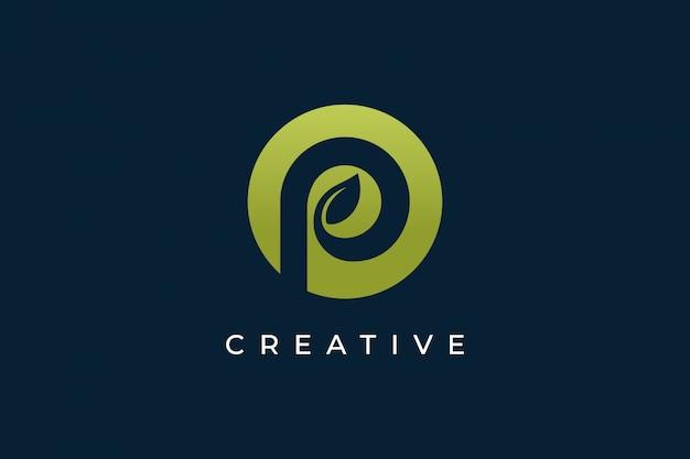 Diseño de logotipo letra p con icono de hoja y círculo