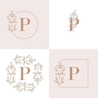 Diseño de logotipo de letra p de lujo con plantilla de fondo de marco floral