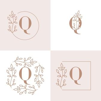 Diseño de logotipo de letra q de lujo con plantilla de fondo de marco floral