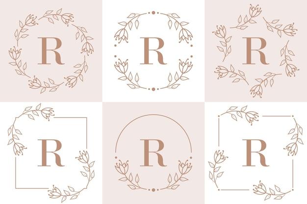 Diseño de logotipo letra r con elemento de hoja de orquídea