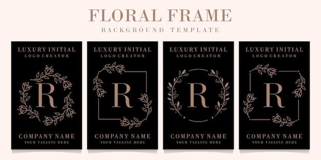 Diseño de logotipo de letra r de lujo con plantilla de fondo de marco floral