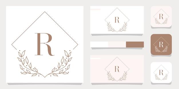 Diseño de logotipo de letra r de lujo con plantilla de marco floral, diseño de tarjeta de visita