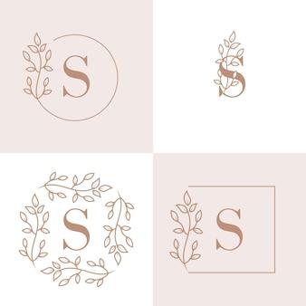 Diseño de logotipo de letra s de lujo con plantilla de fondo de marco floral