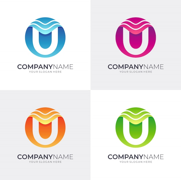 Diseño de logotipo letra u con onda