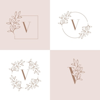 Diseño de logotipo letra v con elemento de hoja de orquídea