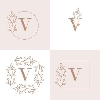 Diseño de logotipo de letra v de lujo con plantilla de fondo de marco floral