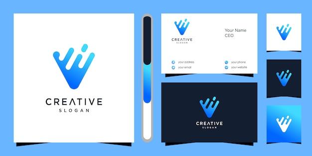 Diseño de logotipo letra v y tarjeta de visita