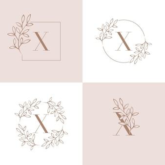 Diseño de logotipo letra x con elemento de hoja de orquídea