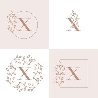 Diseño de logotipo de letra x de lujo con plantilla de fondo de marco floral