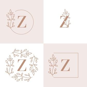 Diseño de logotipo de letra z de lujo con plantilla de fondo de marco floral