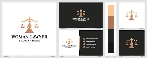 Diseño de logotipo de ley de mujer con concepto de tarjeta de visita