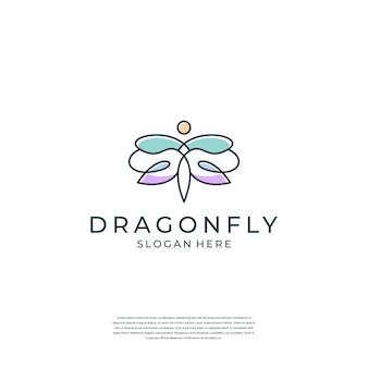 Diseño de logotipo de libélula elegante minimalista con estilo de arte lineal