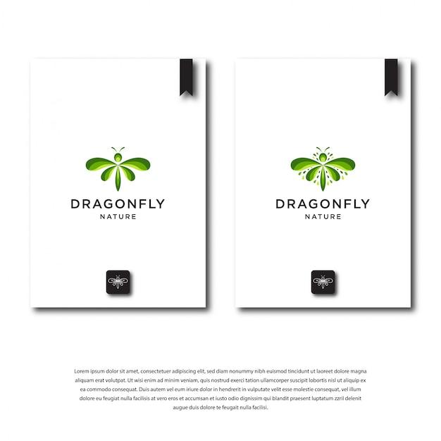 Diseño de logotipo de libélula verde