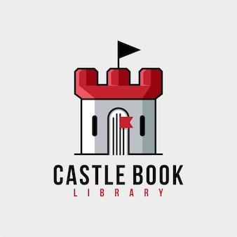 Diseño de logotipo de libro de castillo