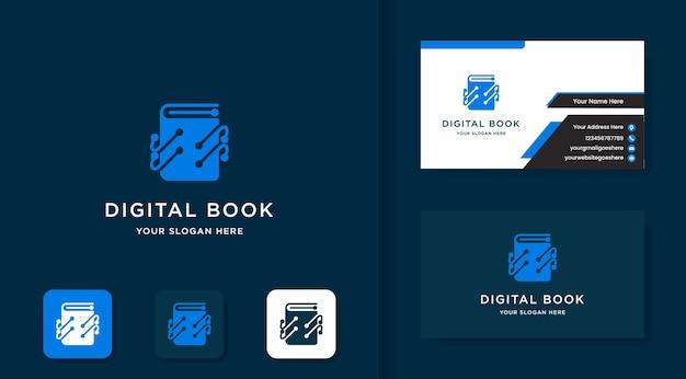 Diseño de logotipo de libro digital con circuito de puntos y diseño de tarjeta de visita.
