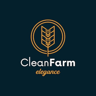 Diseño de logotipo limpio de círculo de trigo
