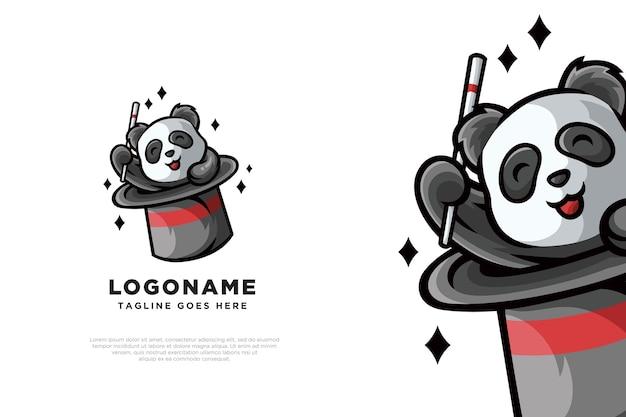 Diseño de logotipo lindo panda mágico