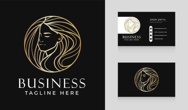 Diseño de logotipo de línea de cabello de mujer de salón de belleza de lujo con plantilla de tarjeta de visita