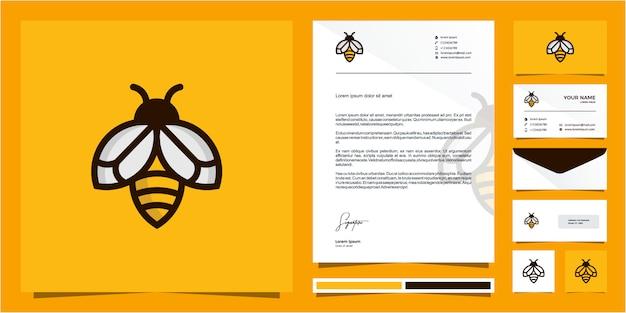 Diseño de logotipo de línea de contorno de bee monoline