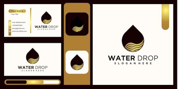 Diseño de logotipo lineal aqua color dorado logotipo de agua monoline vector de logotipo de agua creativa y de lujo