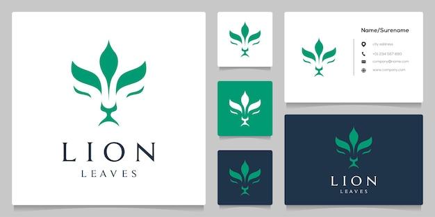 Diseño de logotipo de lion head leaf plant nature