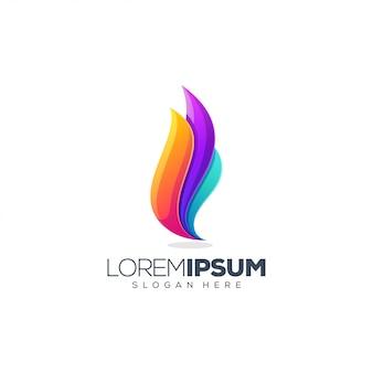 Diseño de logotipo de llama colorida