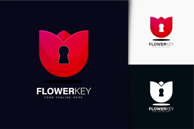 Diseño de logotipo de llave de flor con degradado
