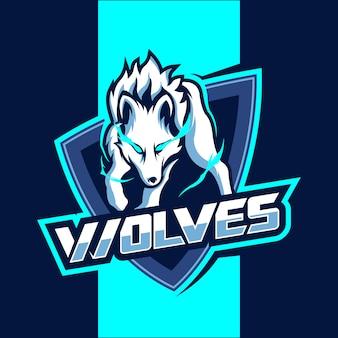 Diseño de logotipo de lobo blanco mascota esport